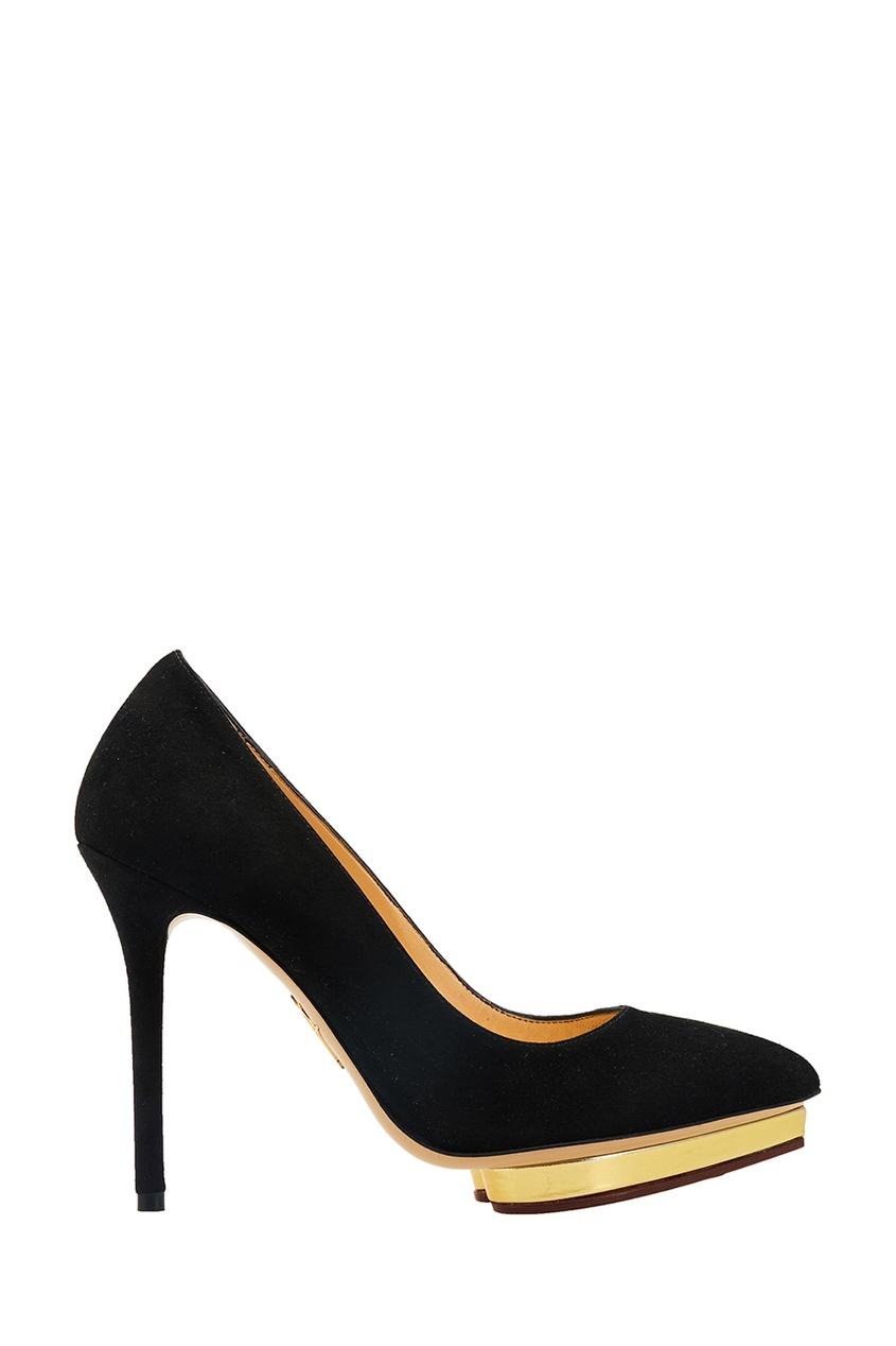 Charlotte Olympia Черные замшевые туфли Debbie olympia le tan джинсовые брюки
