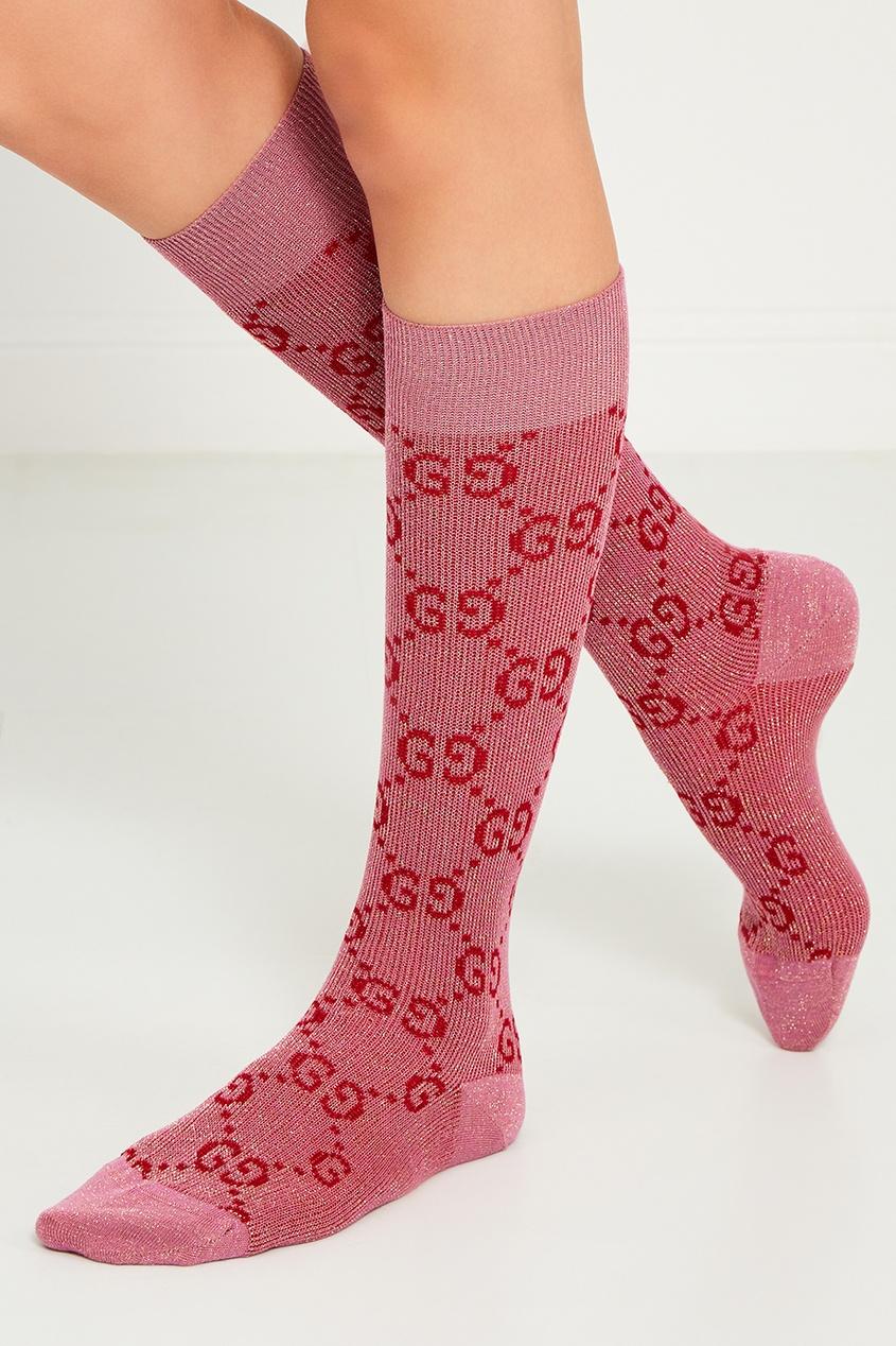 Розовые носки с монограммами