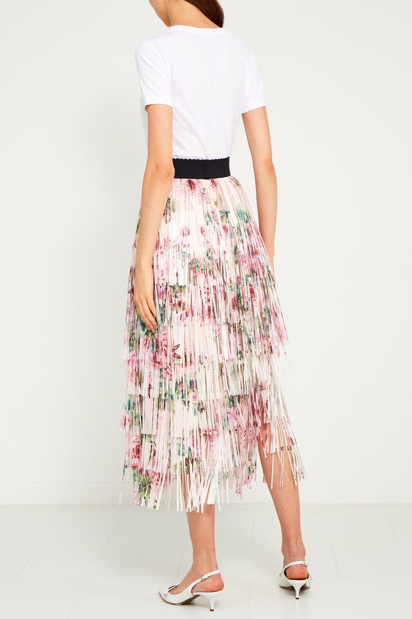 Шелковая юбка с ярусной бахромой