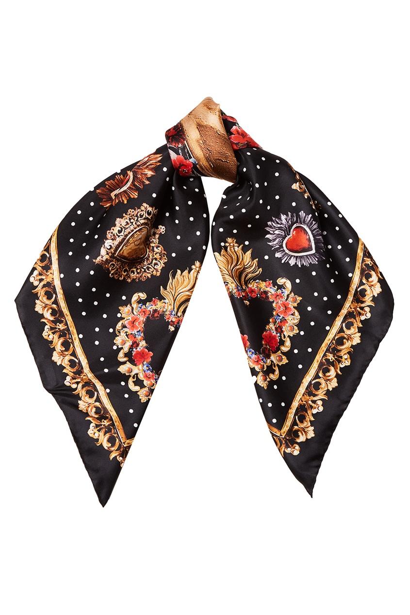 Dolce&Gabbana Шелковый платок с сердцами ostin платок в мелкий принт лисички page 9