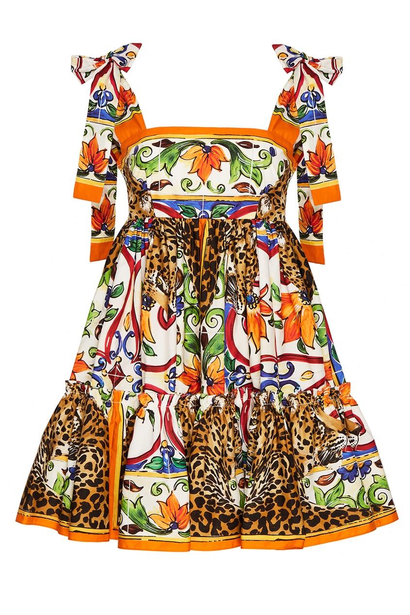 Хлопковое платье с принтом «майолика»