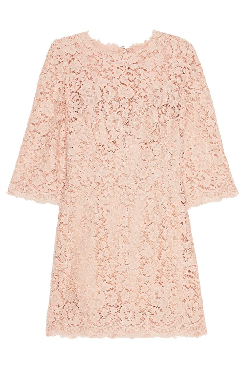 где купить Dolce&Gabbana Розовое кружевное платье по лучшей цене