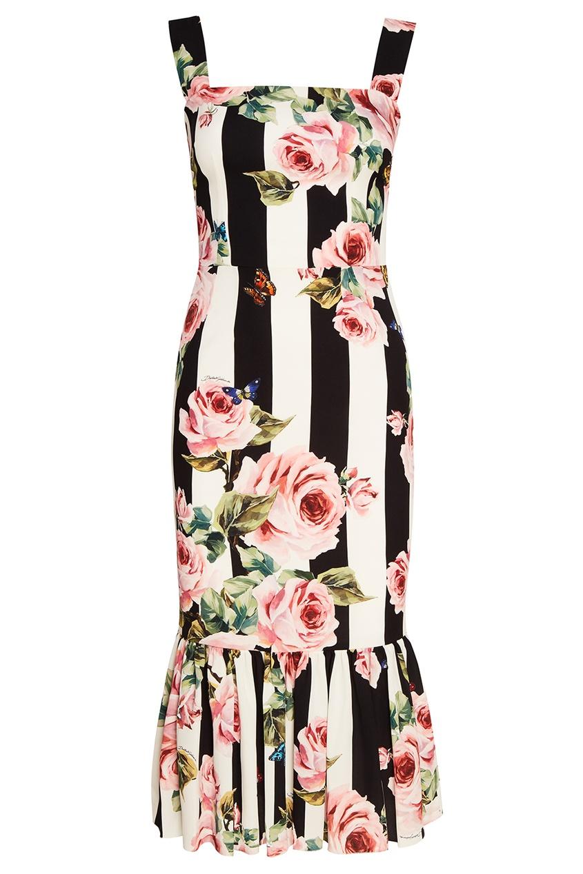 Dolce&Gabbana Шелковое платье с воланом по низу