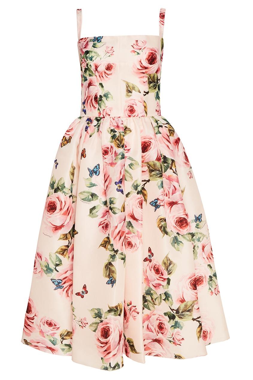 Dolce&Gabbana Шелковое платье с розами кружевное платье на бретелях dolce