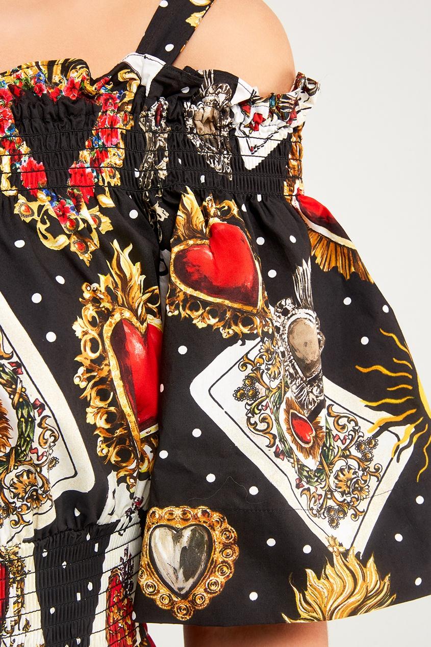 Dolce&Gabbana Хлопковое платье с картами платье длинное с короткими рукавами
