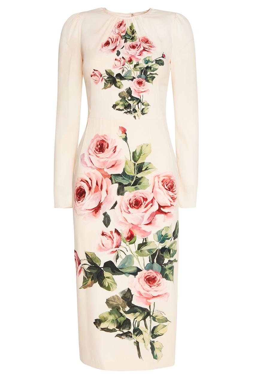 Платье из шелка с розами