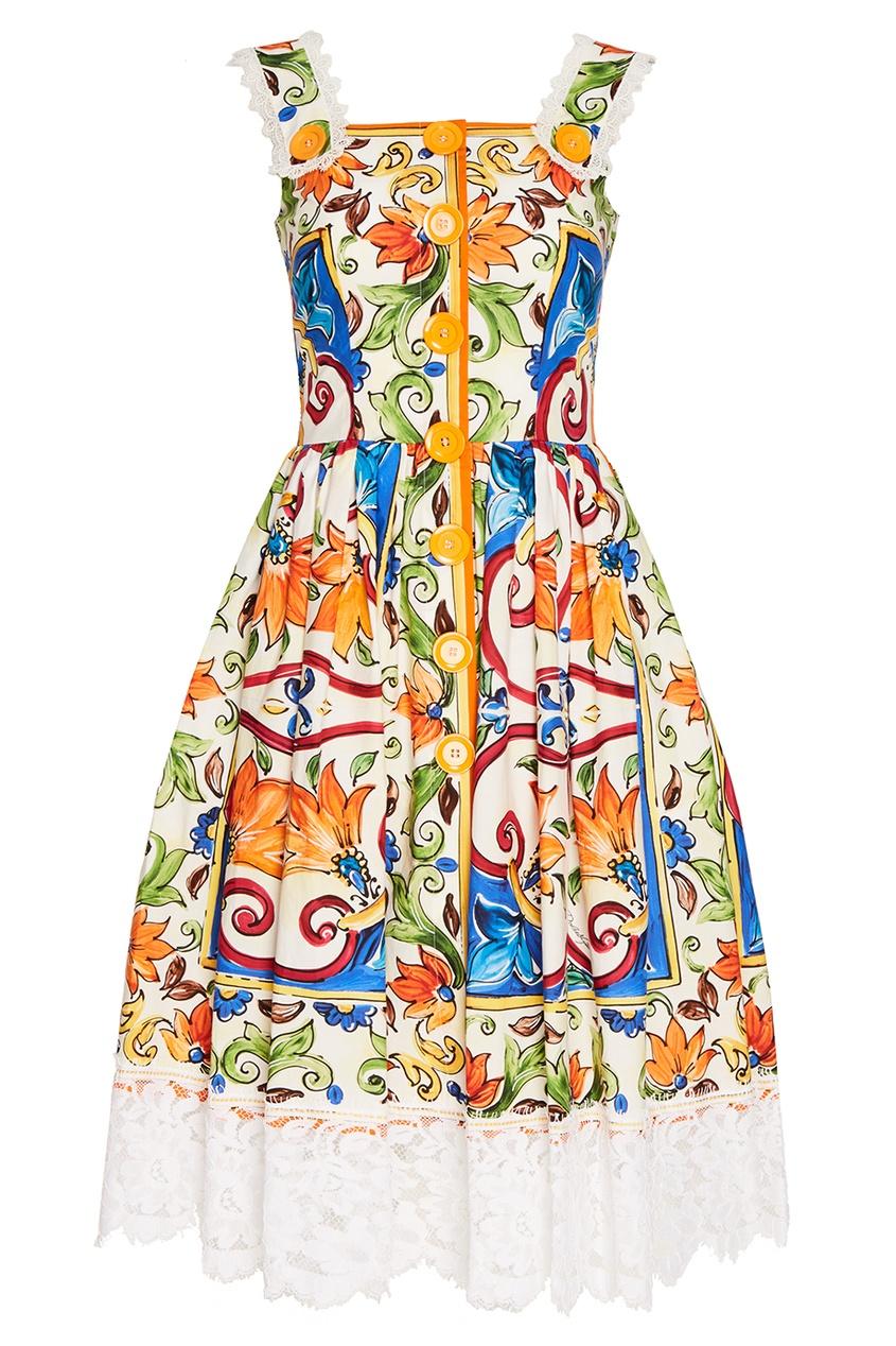 Dolce&Gabbana Платье из хлопка с принтом «майолика»