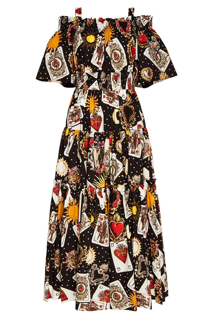 Хлопковое платье с картами
