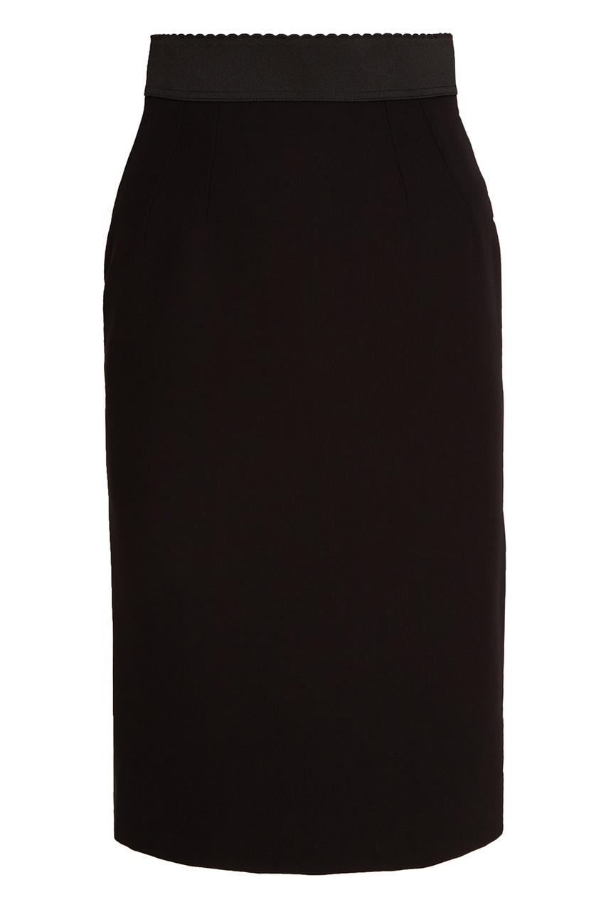 Черная шерстяная юбка-карандаш