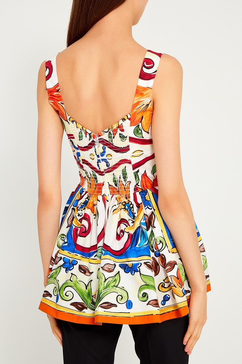 Dolce&Gabbana Хлопковый топ с принтом «майолика»