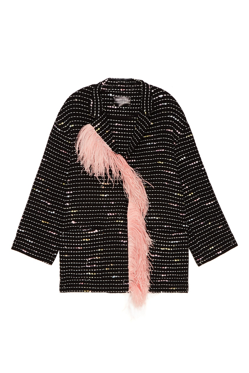 Sophie&Eva Черное пальто с перьями