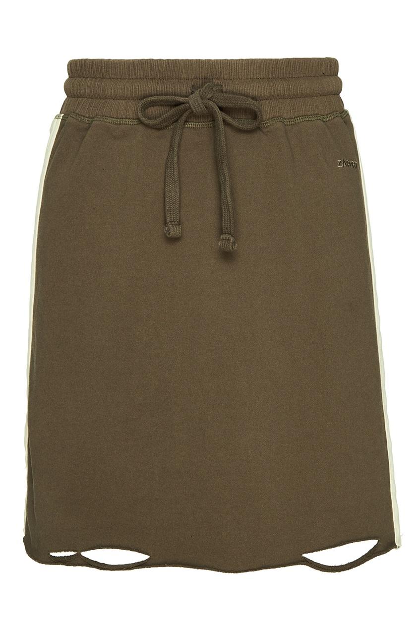 Зеленая трикотажная юбка-мини