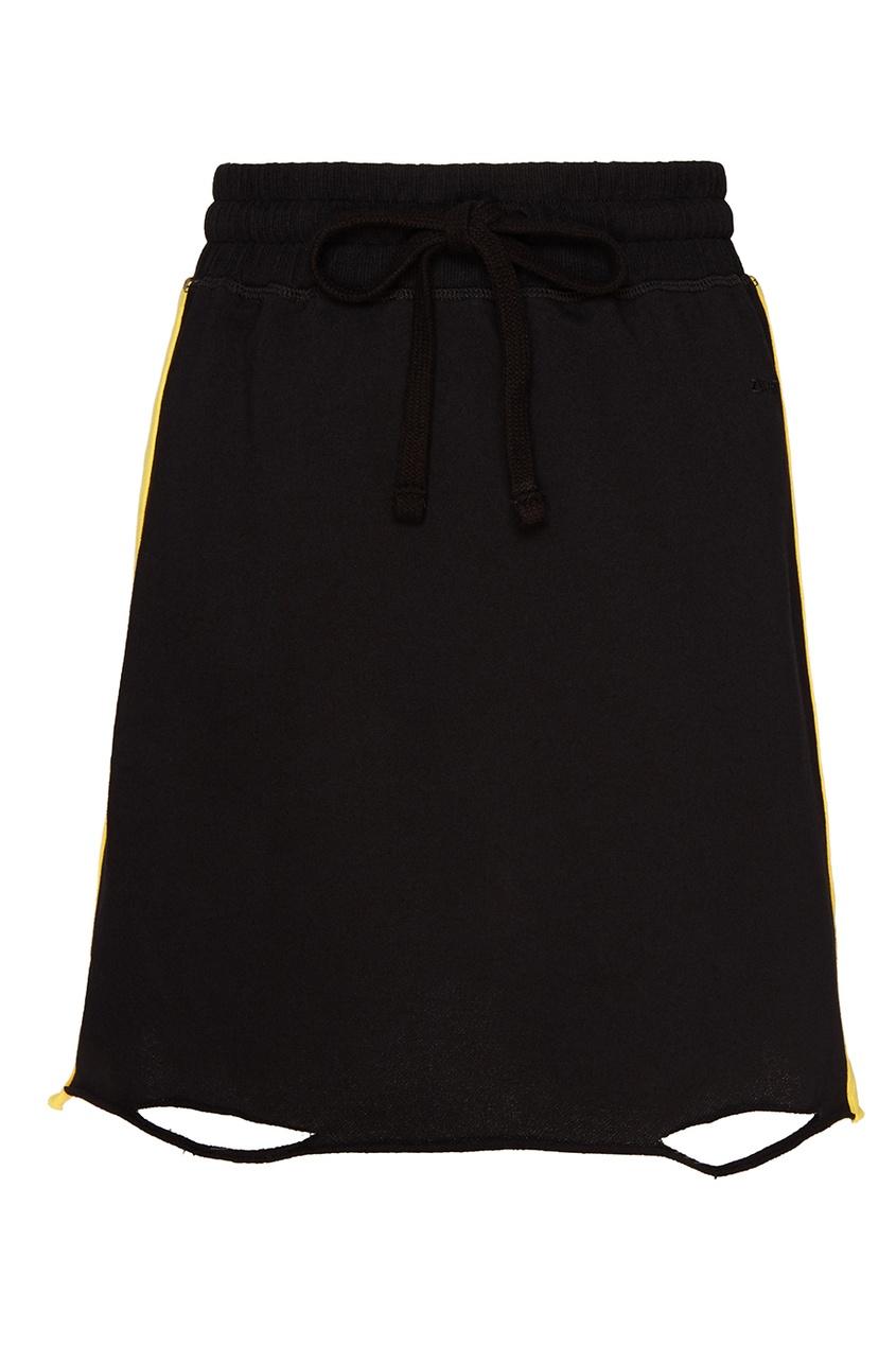 Черная трикотажная юбка-мини