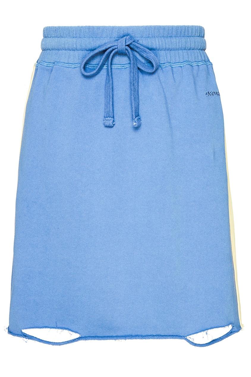 Синяя трикотажная юбка-мини