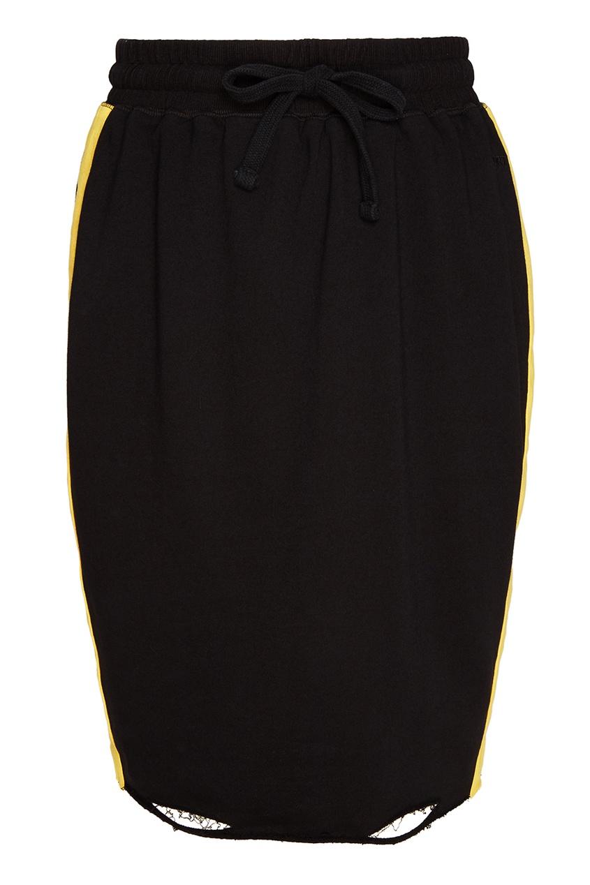Черная трикотажная юбка с лампасами