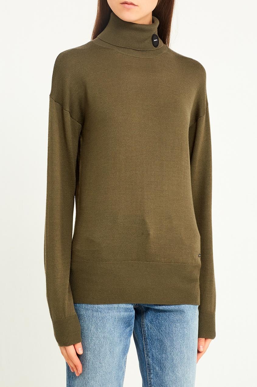 Удлиненный свитер цвета хаки