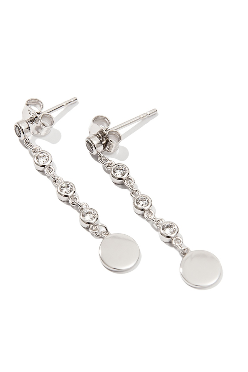 Серебряные серьги-подвески с кристаллами