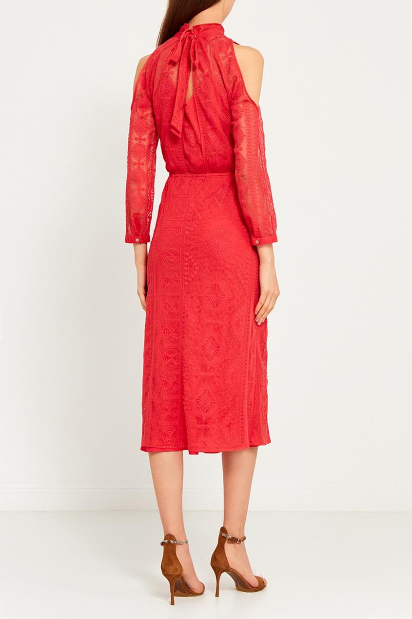 LAROOM Красное платье из вышитого хлопка laroom однотонное платье