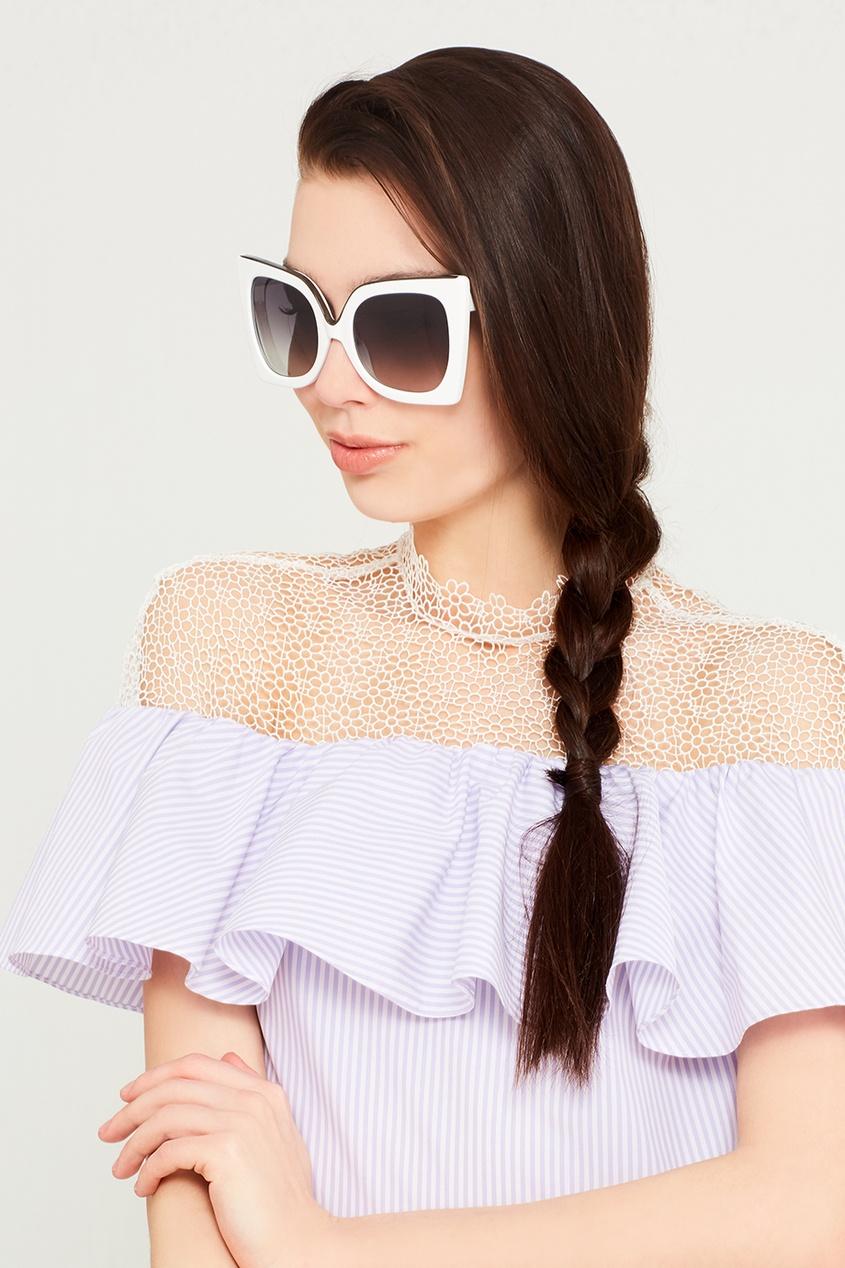 Белые солнцезащитные очки Linda Farrow x No.21
