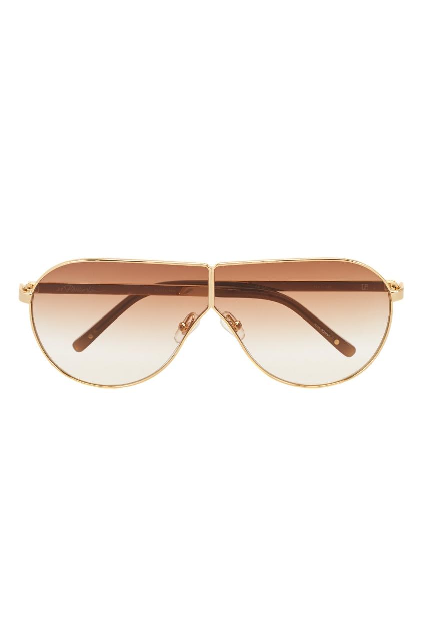 Linda Farrow Золотистые солнцезащитные очки Linda Farrow x Phillip Lim linda farrow черепаховые солнцезащитные очки linda farrow x phillip lim
