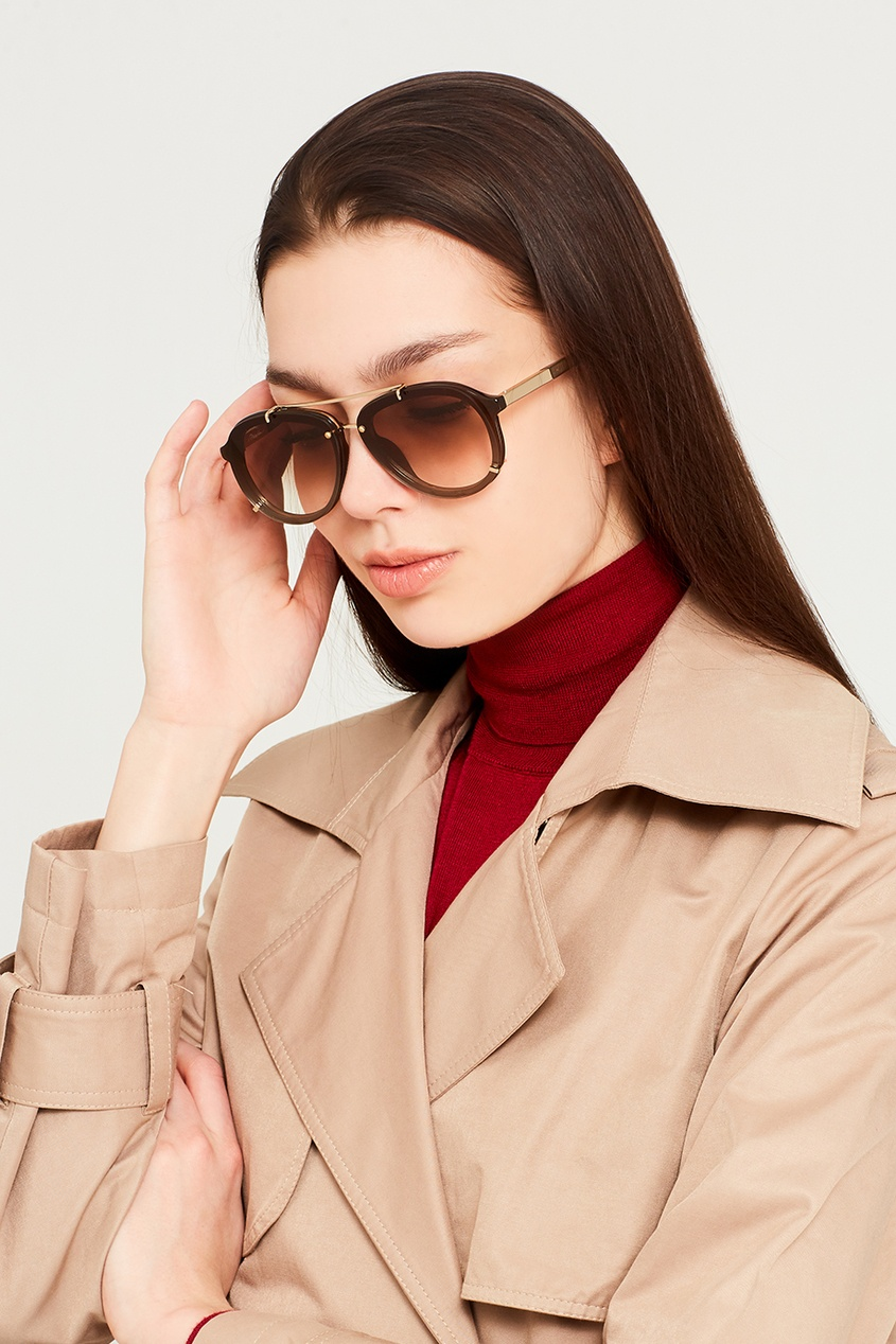 Linda Farrow Коричневые солнцезащитные очки Linda Farrow x Phillip Lim диван фокус л заказ 1000х500мм орех 317 linda beige