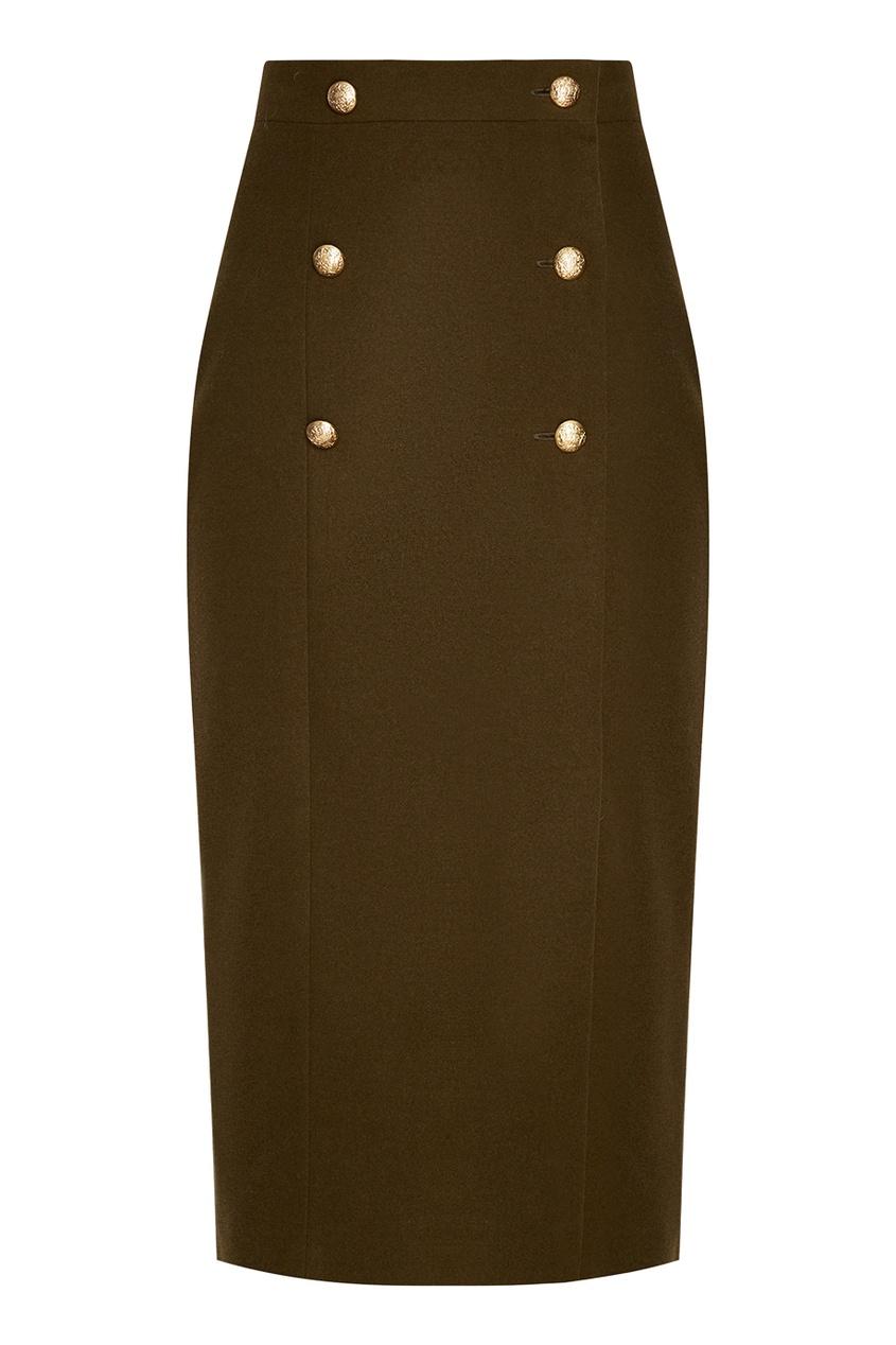 T-Skirt Зеленая юбка-миди с пуговицами юбка миди цвет персиковый c h i c