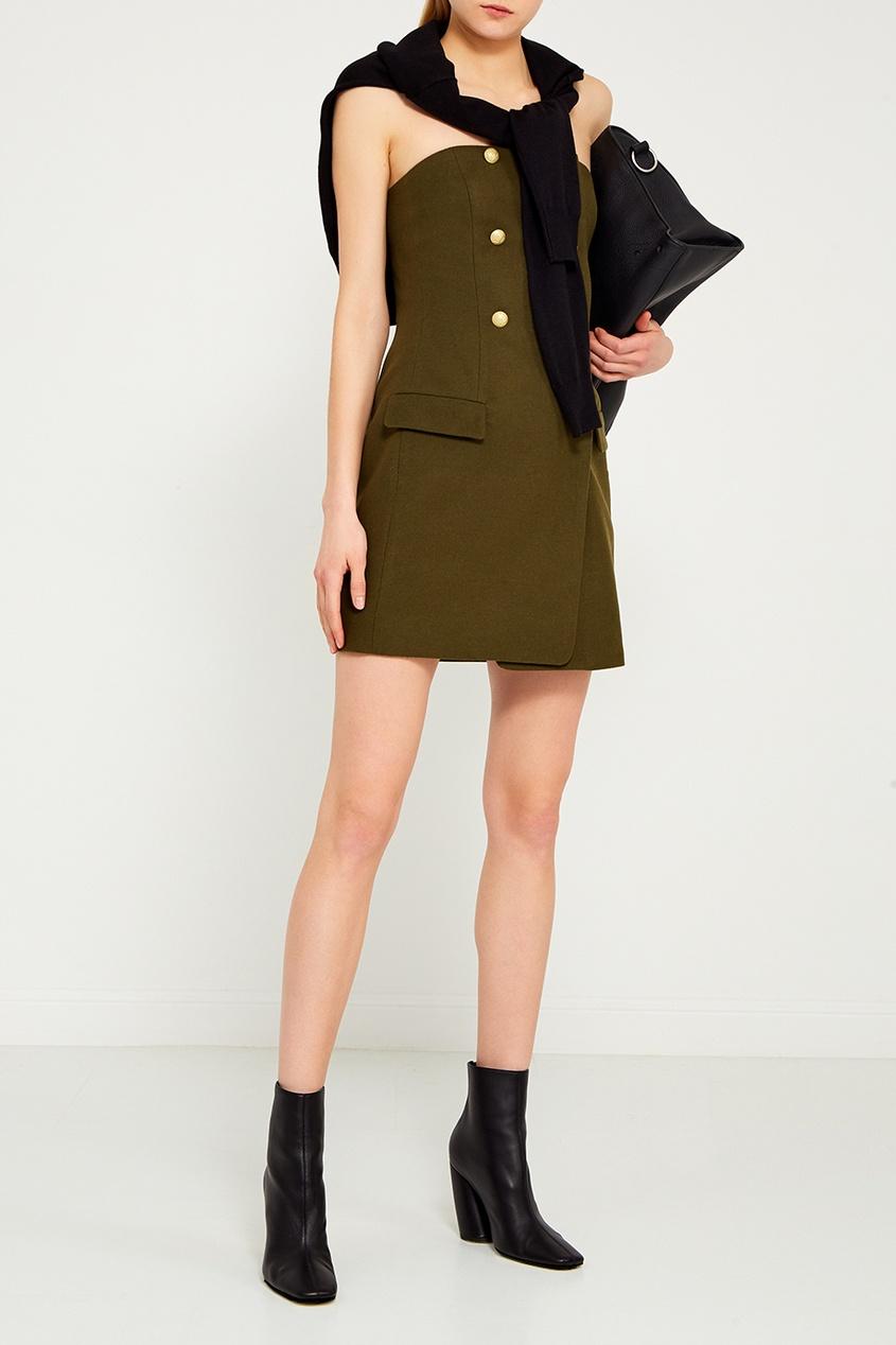 T-Skirt Зеленое короткое платье свитшот print bar два дельфина
