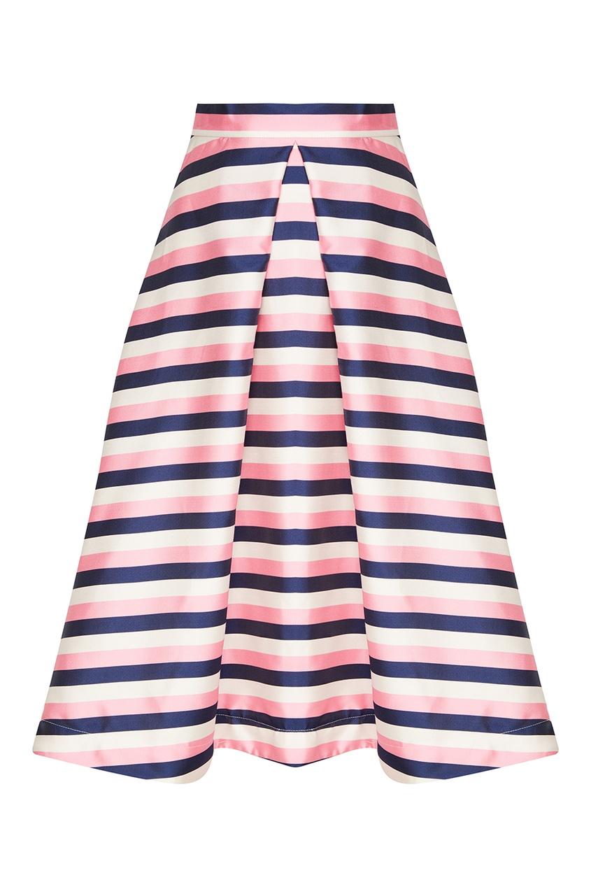 Юбка-миди в розовую полоску
