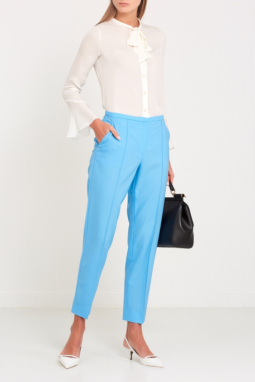 Голубые шерстяные брюки