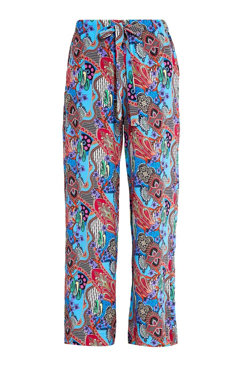 Etro Шелковые брюки с графичным принтом etro синие хлопковые брюки