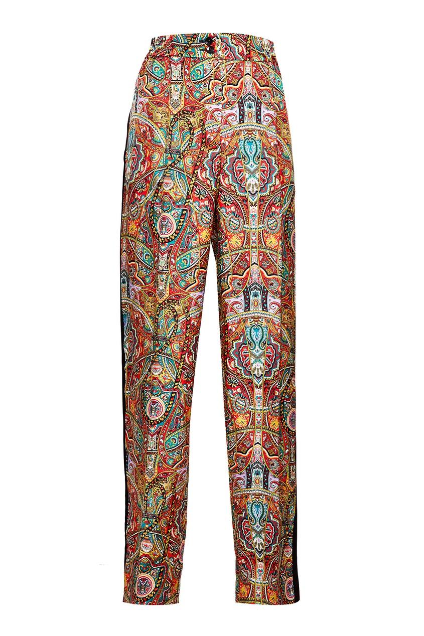 Etro Шелковые брюки с принтом и лампасами