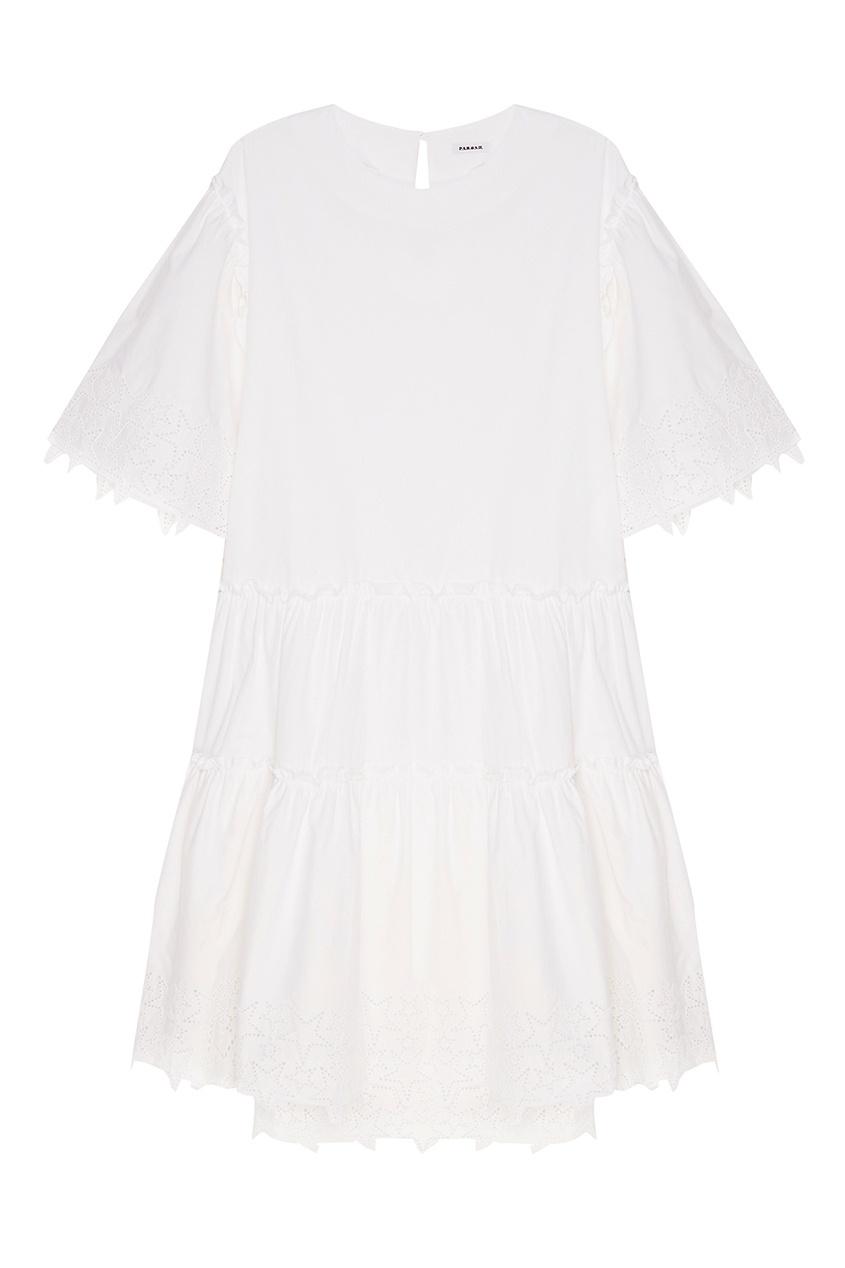 Хлопковое платье с ажурными рукавами