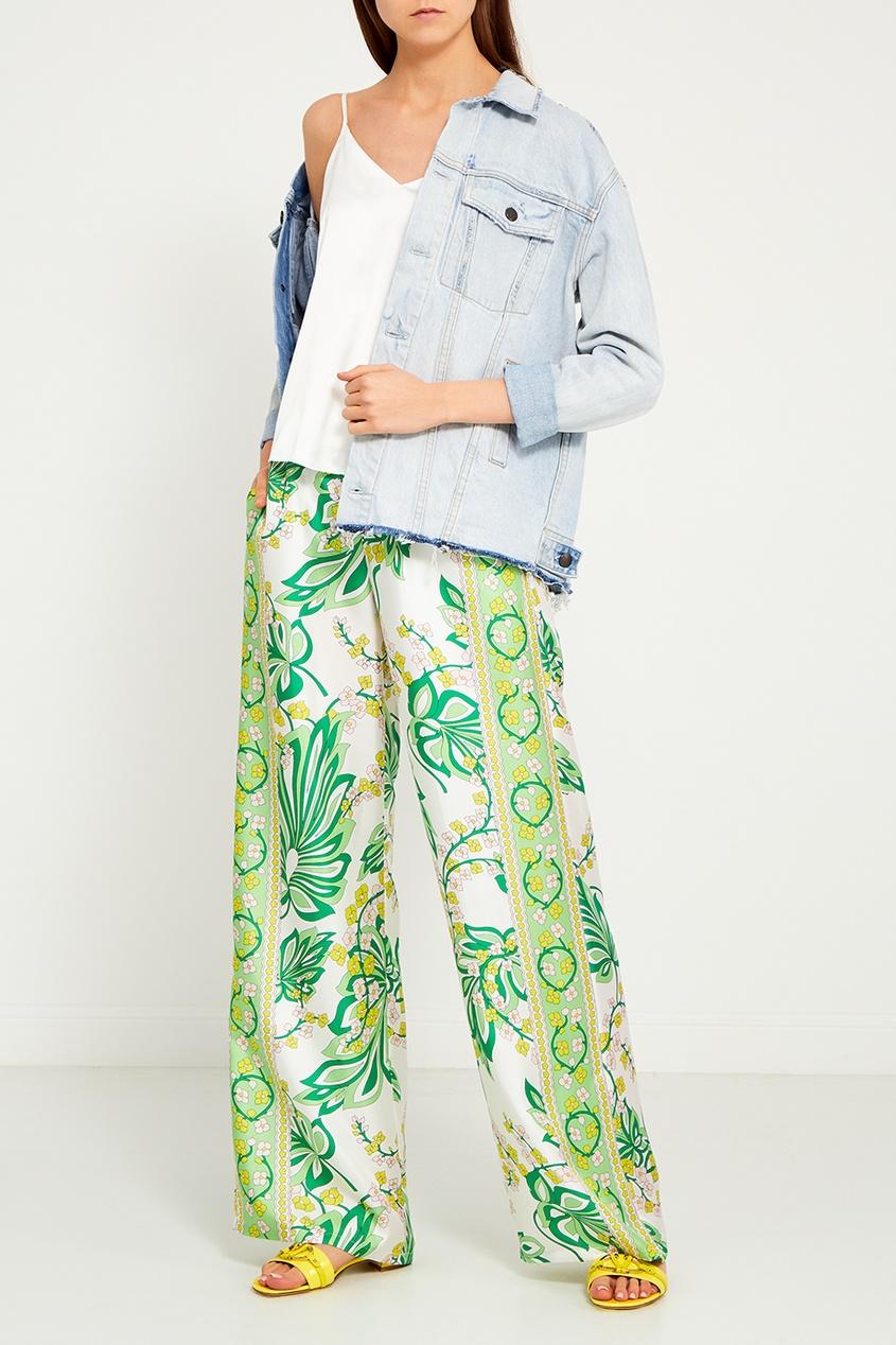 Шелковые брюки с растительным принтом