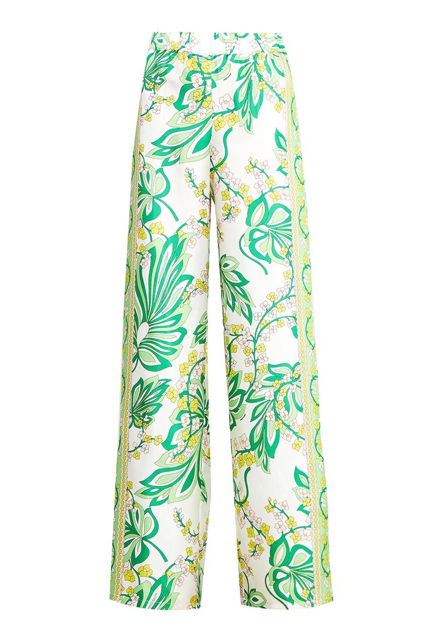 Шелковые брюки с растительным принтом P.A.R.O.S.H.