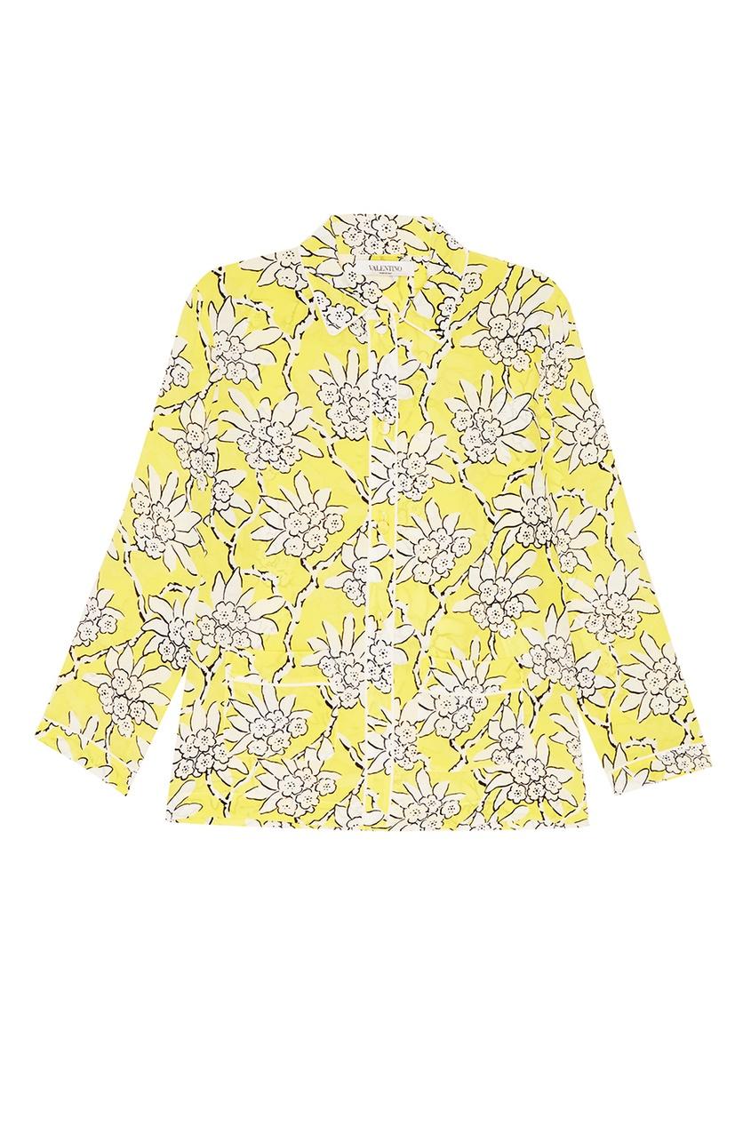 Valentino Шелковая блузка с растительным принтом