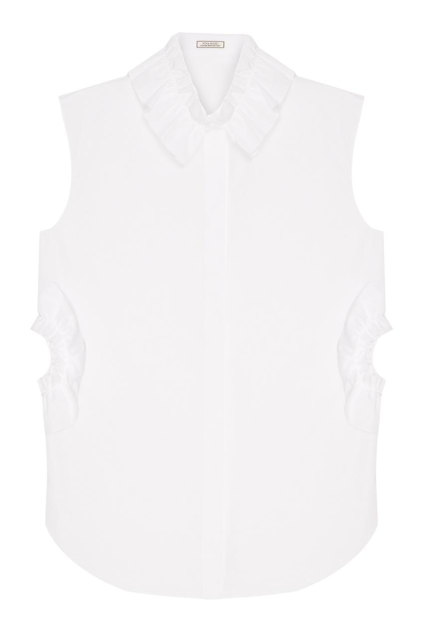 Nina Ricci Хлопковая блузка с оборками nina ricci вельветовое пальто с кожаной отделкой