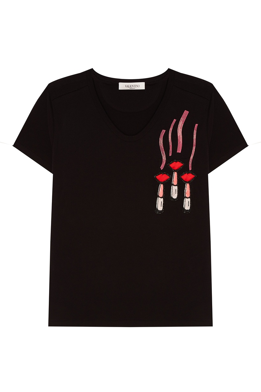 Valentino Черная футболка с аппликацией полуприлегающая футболка с аппликацией
