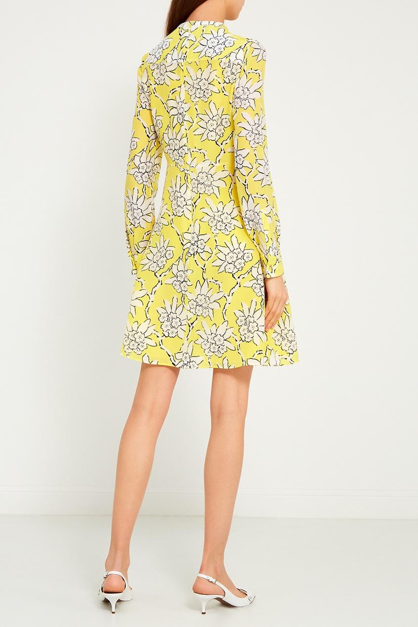 Шелковое платье-блузка с принтом