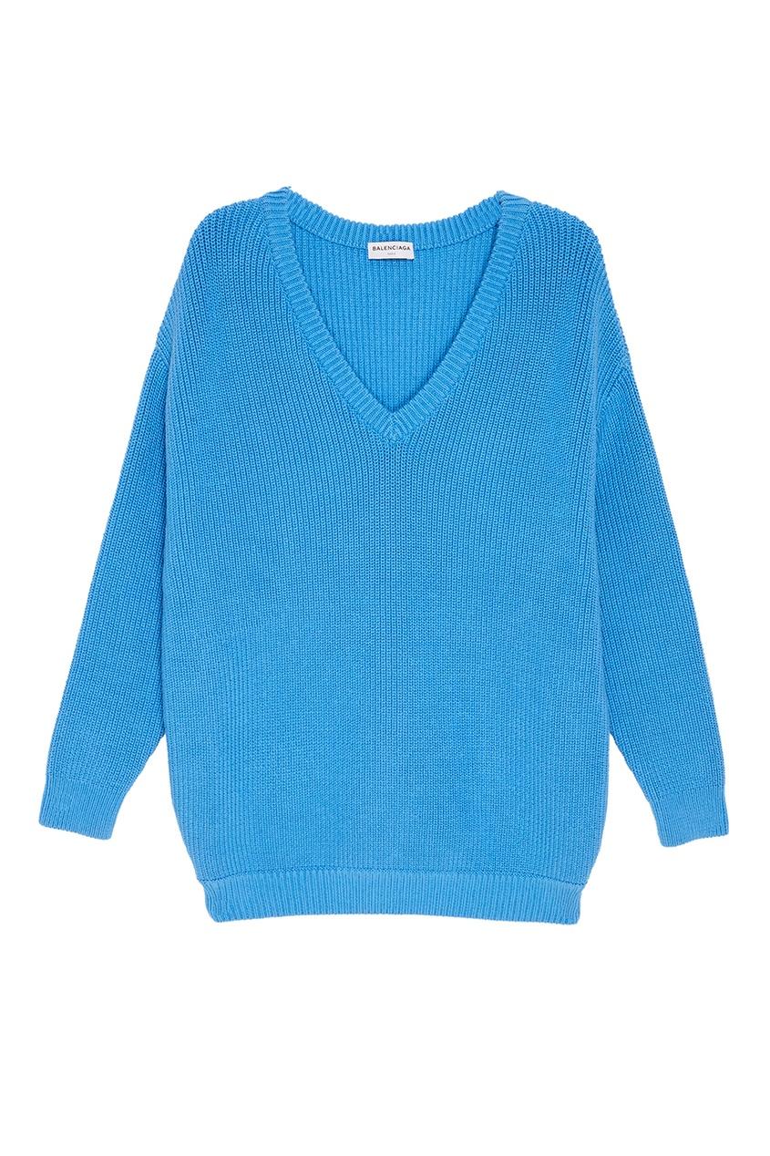где купить Balenciaga Фактурный голубой пуловер по лучшей цене