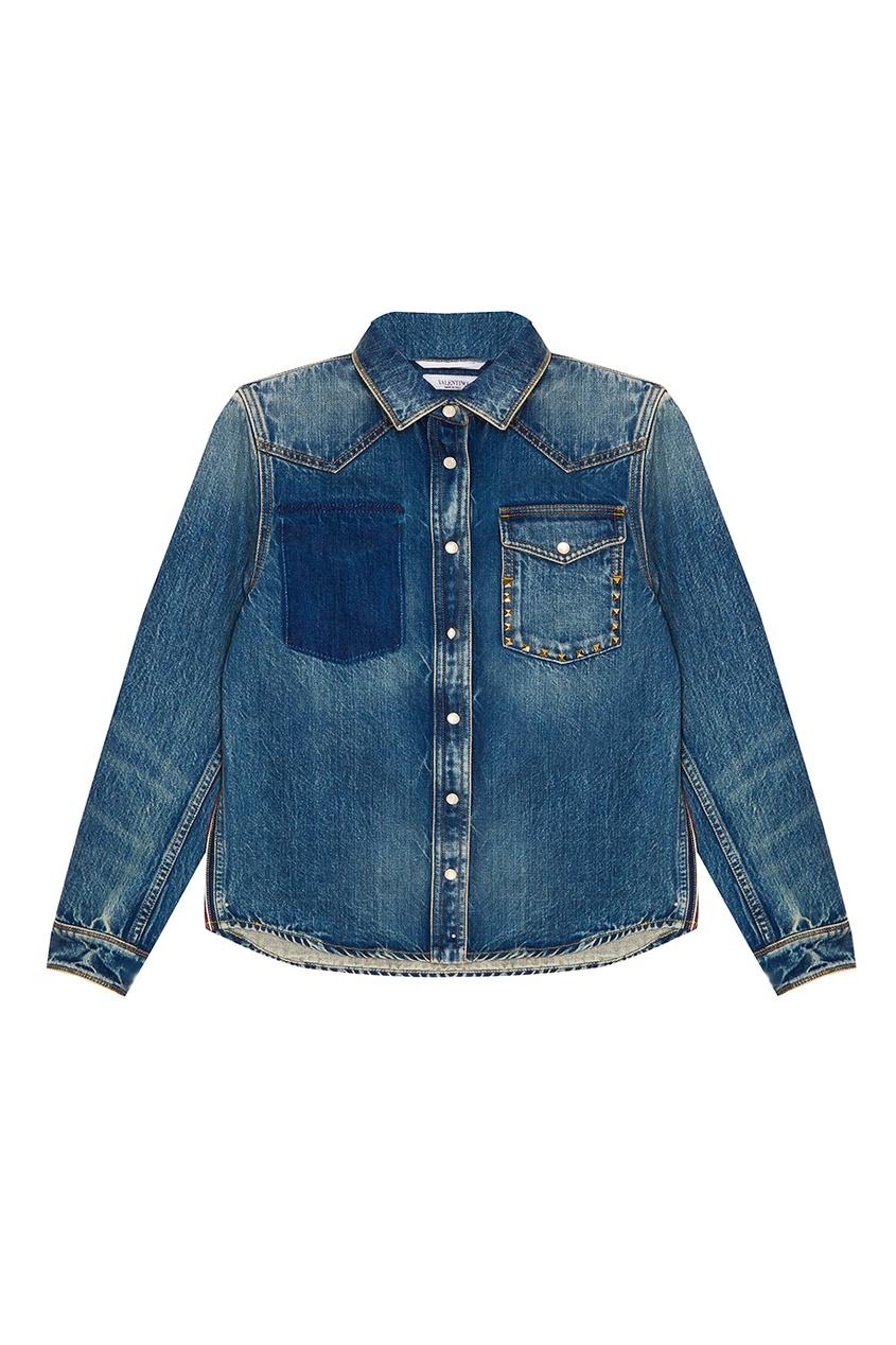 женская рубашка valentino, синяя