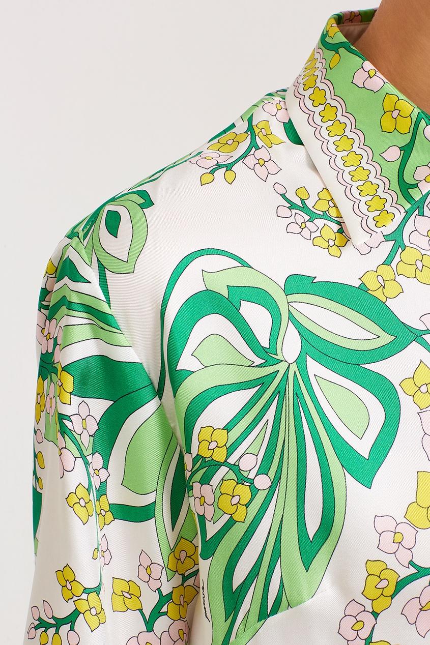 Шелковое платье с растительным принтом