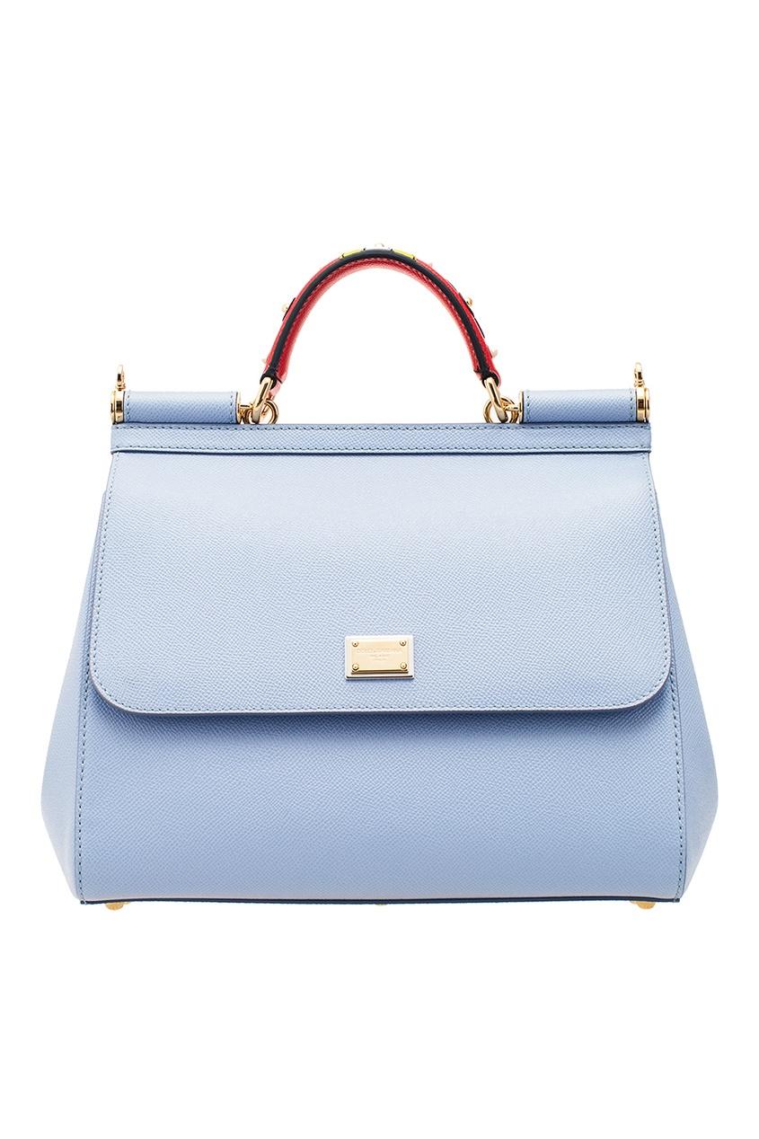 Голубая кожаная сумка Sicily