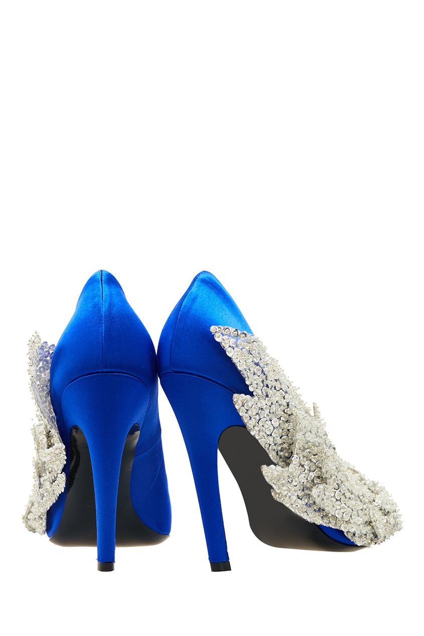Синие туфли с пайетками и бисером