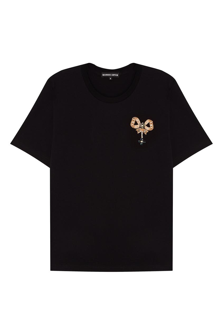 Markus Lupfer Черная футболка с бантом платье без рукавов с декоративным бантом