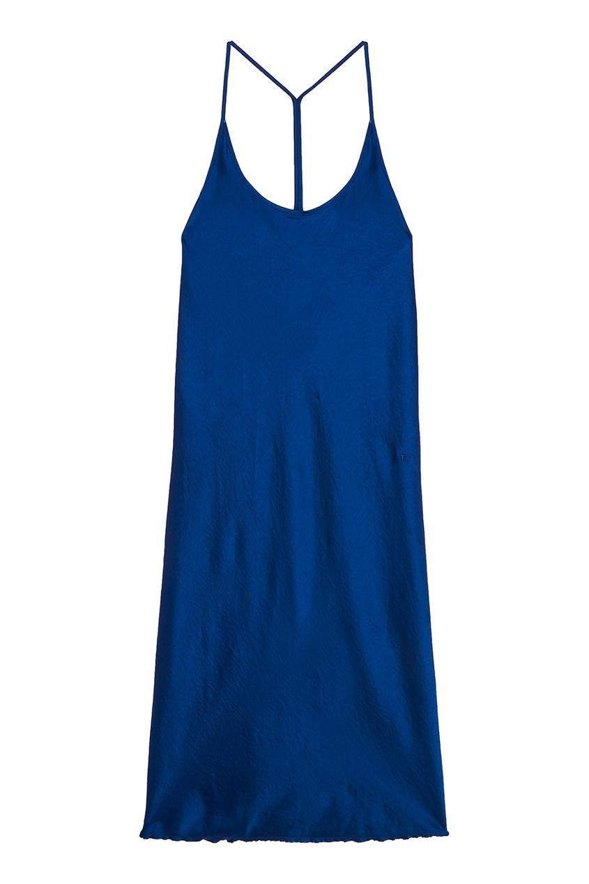Синее платье на бретелях