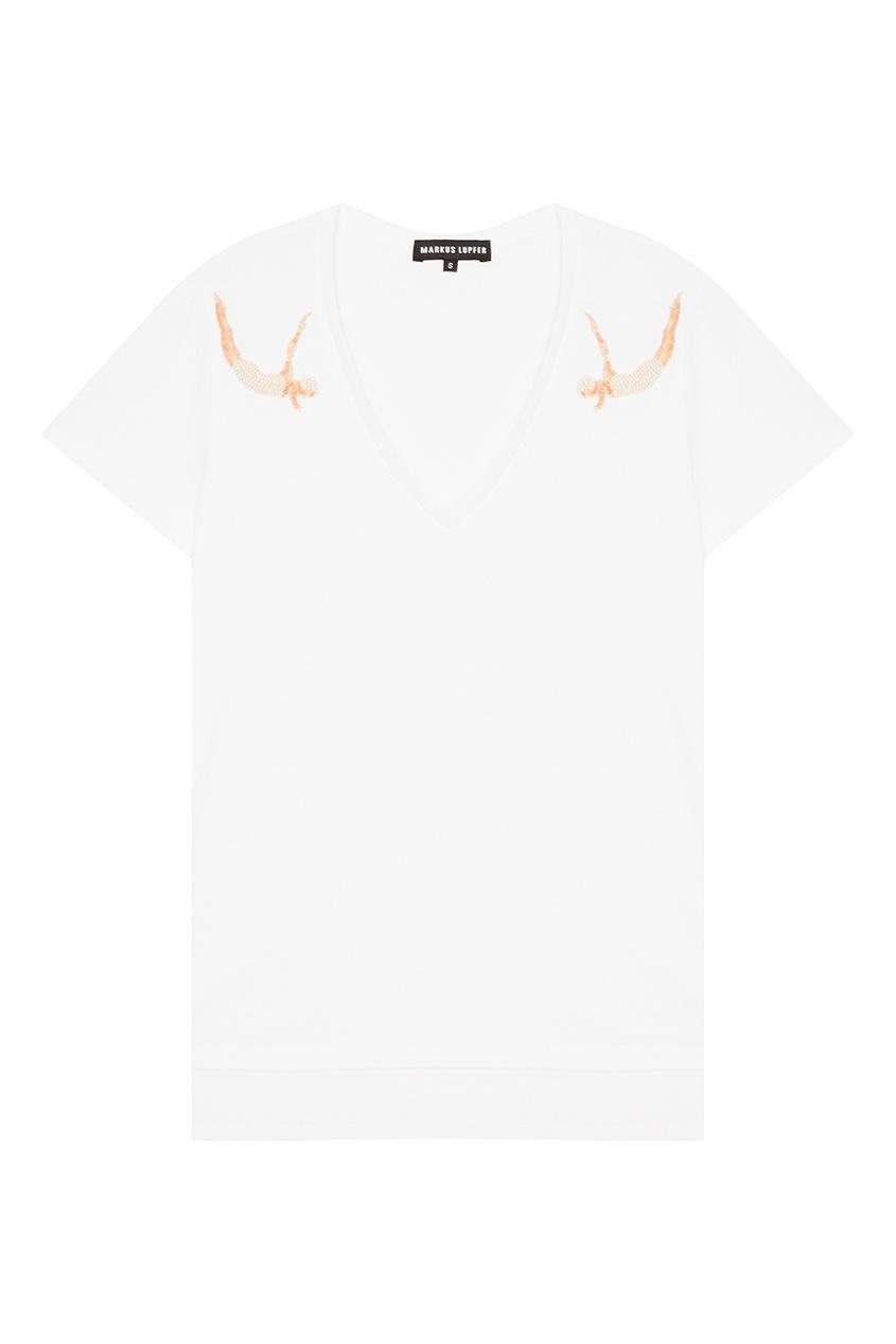 Markus Lupfer Белая футболка с объемной вышивкой объемная вышивка с бисером