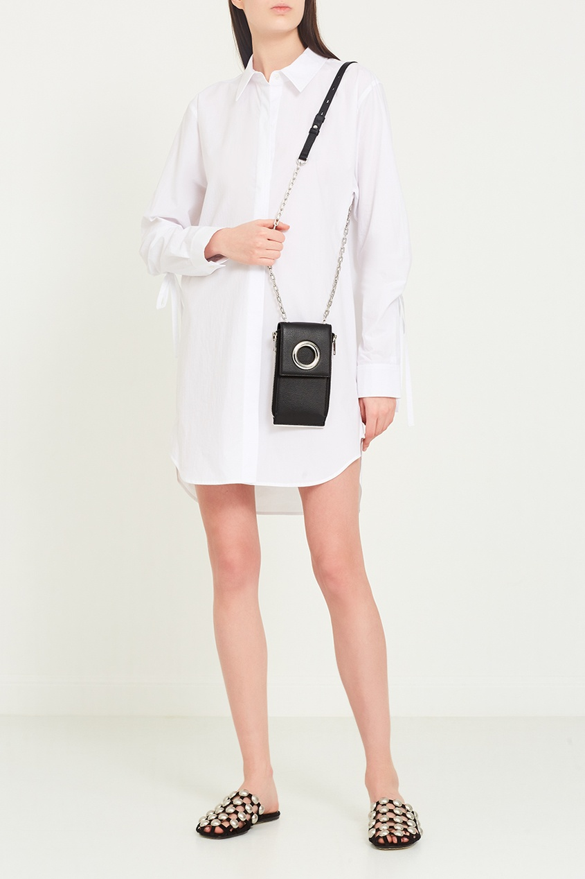 Черный кожаный чехол для телефона от Alexander Wang