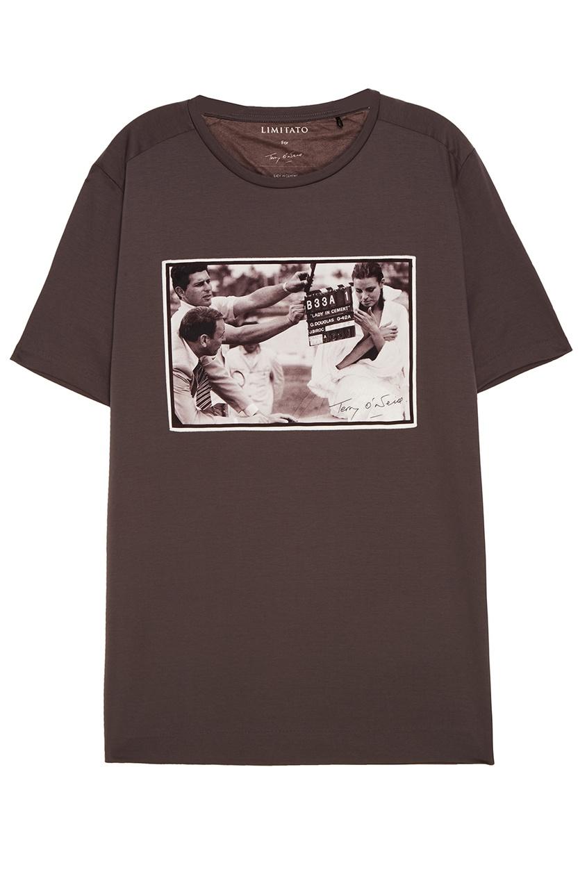 LIMITATO Черная хлопковая футболка с принтом футболка белая с принтом ido ут 00004169