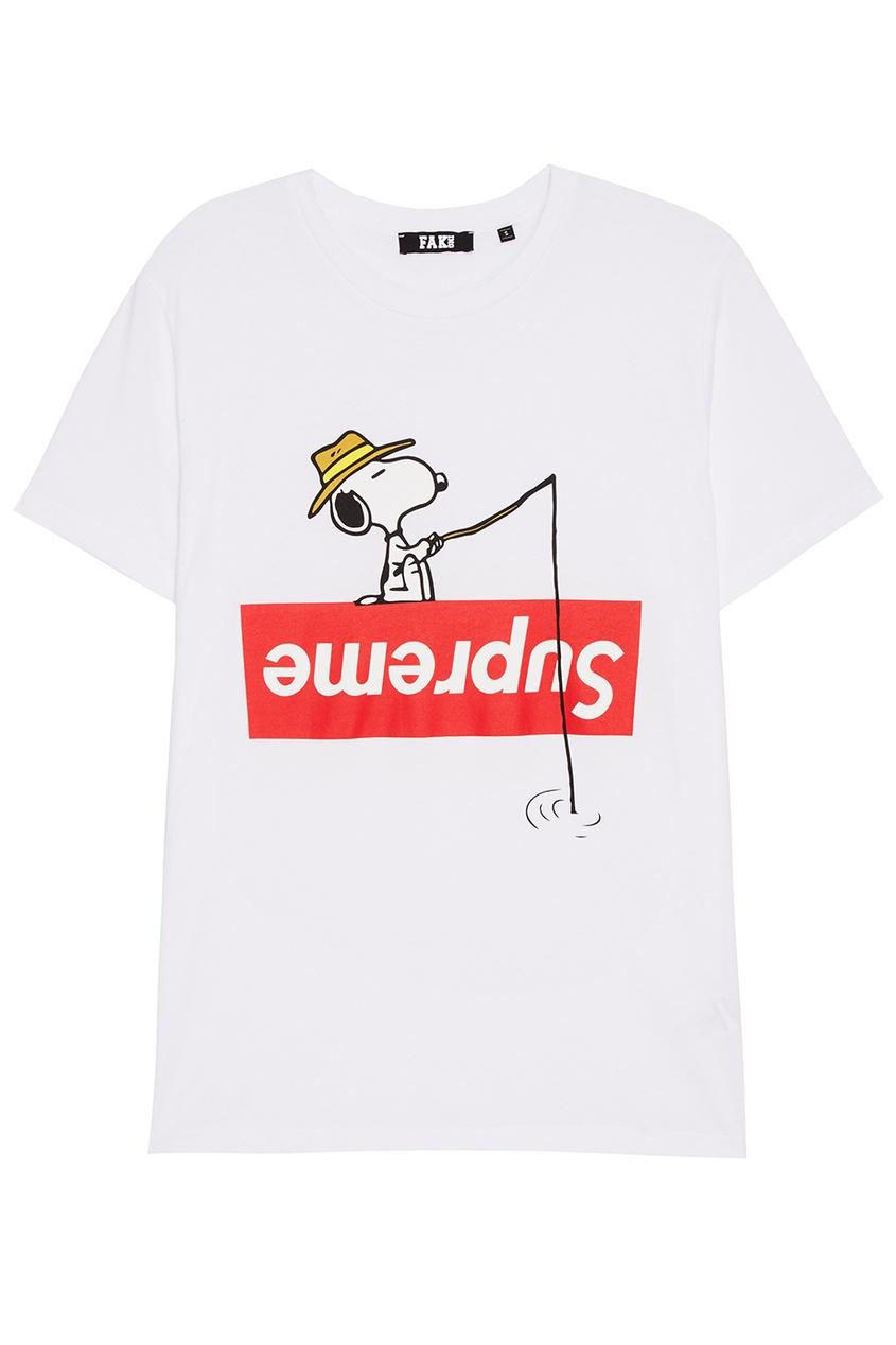 FAKing Белая футболка с принтом футболка белая с ярким принтом catimini ут 00011630