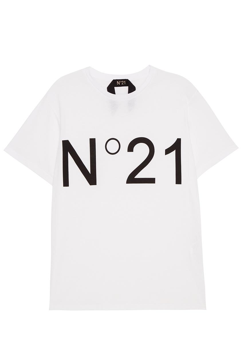 No.21 Белая футболка с контрастным логотипом футболка белая с принтом ido ут 00004169